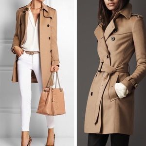 Burberry camel honey wool cashmere trench coat